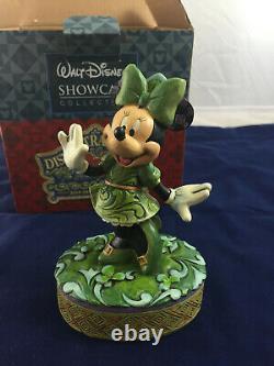 Jim Shore Disney St. Patricks Day Wishing On A Shamrock Minnie Mouse Irish Luck