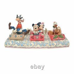 MICKEY MINNIE GOOFY DONALD PLUTO Sledding 3-Figure SLED SET Disney Jim Shore NEW