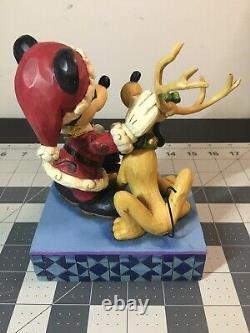 RARE Jim Shore Disney Traditions Mickey Mouse Pluto Santa's Best Friend Figure