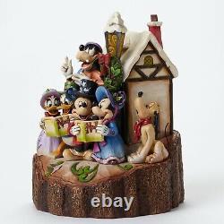 Disney Traditions Mickey Mouse Caroling Sculpté Par Harmonie Cardiaque #4046025 Nib