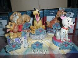 Disney Traditions Par Jim Shore Canine Ensemble 5 Chiens Avec Os Nib