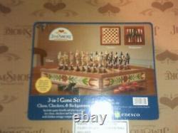 Jim Shore 3 En 1 Jeu Set Chess Checkers & Backgammon Nib! Belle Très Rare