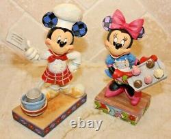 Jim Shore Rare Retraité Disney Mickey Minnie Mouse Chef Cook Baker Cupcakes Nib