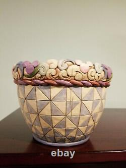 Jim Shore Walt Disney Traditions Mickey Mouse Round Planter Pot Très Rare