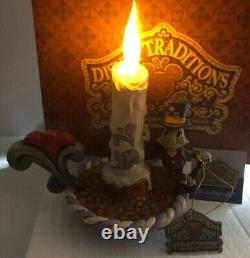 Main Rare Signée Jim Shore Disney Jiminy Cricket Bougie Guidant La Lumière Pinocchio