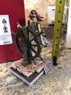 Pirates Des Caraïbes Helmsman Jim Shore Signé Autographed Skeleton Sailing