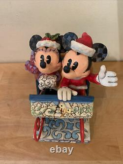 Rare Disney Jim Shore Mickey & Minnie Mouse Vieille Balade En Traîneau À La Mode 4013970