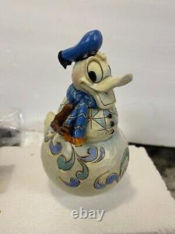 Rare Nib Jim Shore Disney Balançant Donald Duck Bonhomme De Neige Vaciller Dans L'hiver
